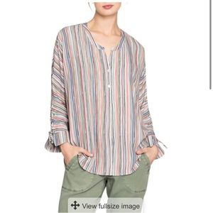 NWT Nic+Zoe cabana tie stripe top large striped